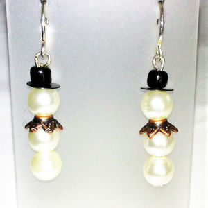 Pearl Snowman Silver Filled Christmas Earrings